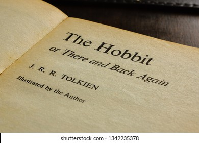 Wrexham United Kingdom - March 17 2019: A vintage paperback edition title page of The Hobbit written by J.R.R. Tolkien in 1937 a classic childrens story that has been in print for over 81 years