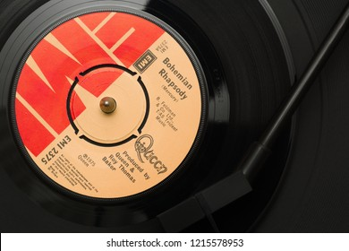 Wrexham United Kingdom - October 29 2018: An original 1975 copy of the song Bohemian Rhapsody by the band Queen written by Freddie Mercury it became one of the best selling singles of all time