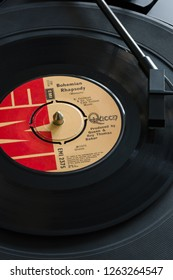 Wrexham United Kingdom - October 29 2018: An original 1975 copy of the song Bohemian Rhapsody by the band Queen written by Freddie Mercury it became one of the best singles of all time