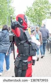 Wrexham, Wales - April 28th, 2019: Wales Comic Con - Cosplayer dressed as Deadpool