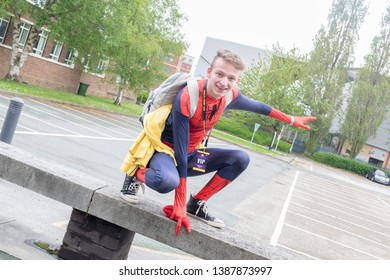 Wrexham, Wales - April 28th, 2019: Wales Comic Con - Cosplayer dressed as Spiderman