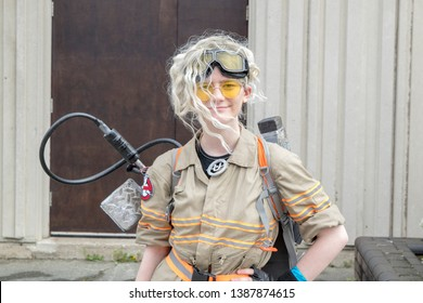 Wrexham, Wales - April 28th, 2019: Wales Comic Con - Cosplayer dressed as Ghostbuster