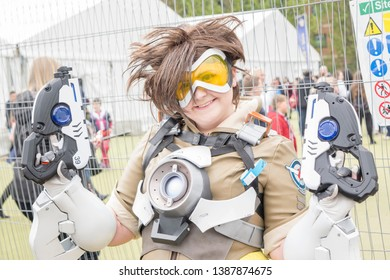 Wrexham, Wales - April 28th, 2019: Wales Comic Con - Cosplayer dressed as Lena Oxton