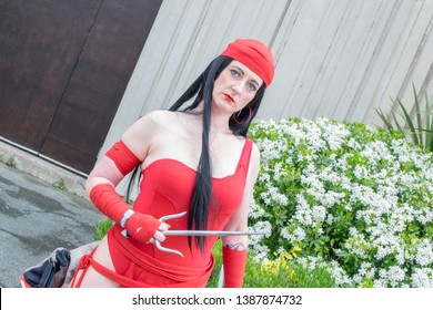 Wrexham, Wales - April 28th, 2019: Wales Comic Con - Cosplayer dressed as Elektra