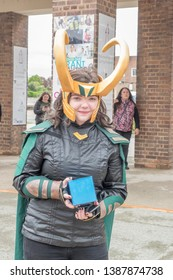Wrexham, Wales - April 28th, 2019: Wales Comic Con - Cosplayer dressed as Loki
