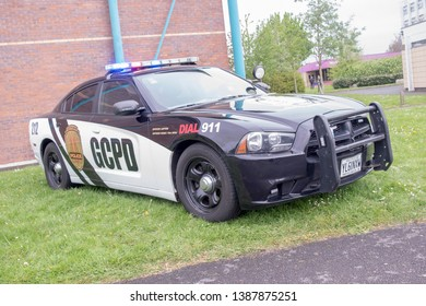 Wrexham, Wales - April 28th, 2019: Wales Comic Con - Gotham City Police Department Vehicle