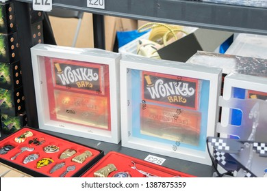 Wrexham, Wales - April 28th, 2019: Wales Comic Con - Vendor Stall selling various items