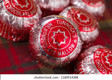 Wrexham Wales UK - September 15 2018: Tunnocks Teacakes a chocolate covered mallow biscuit and sold in over 40 countries produced by Tunnock's Family Bakers based in Uddingston Lanarkshire Scotland