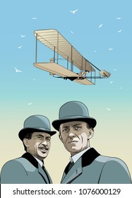 wright brothers, First flight illustration