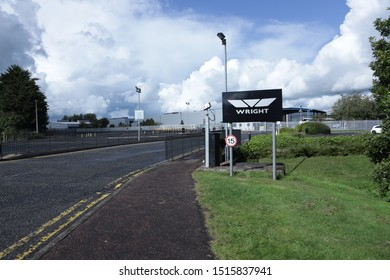 Wright Bus, Ballymena, Northern Ireland: 27th September 2019: Dark Clouds form over Wright Bus as the factory closes with the loss of hundreds of jobs