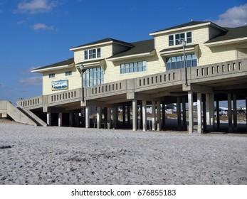 WRIGHTSVILLE BEACH, NC - FEB 2016: Johnnie Mercer's Fishing Pier