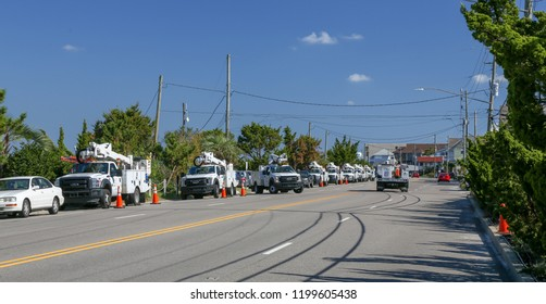 Wrightsville Beach, NC  - October 1, 2018: Weeks after Hurricane Florence, utility crews are still hard at work restoring power to the Carolinas and fixing damaged lines.