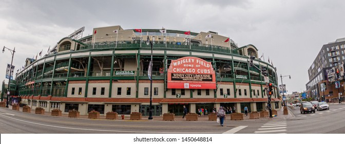 Wrigley Field baseball stadium - home of the Chicago Cubs - CHICAGO, UNITED STATES - JUNE 10, 2019