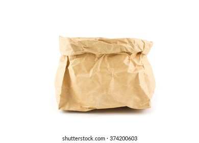 wrinkle brow paper bag isolated white background
