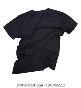 Wrinkled black tshirt on white background