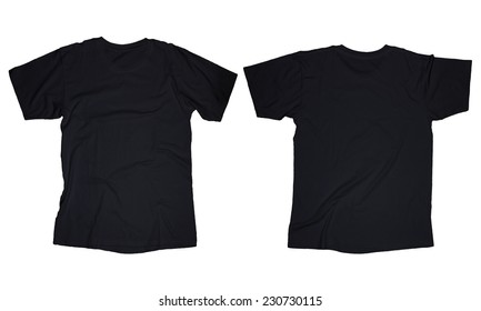 Wrinkled blank black t-shirt template, front and back design isolated on white