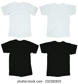 Wrinkled blank black and white blank t-shirt template, front and back design isolated on white