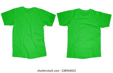 d424275cd Wrinkled blank light green t-shirt template, front and back design isolated  on white
