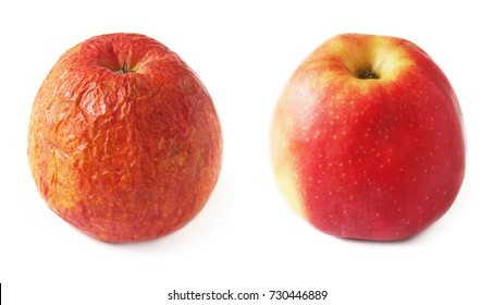 Wrinkled and fresh apple isolated on white background. Aging concept. Two apples, young and old isolated on white