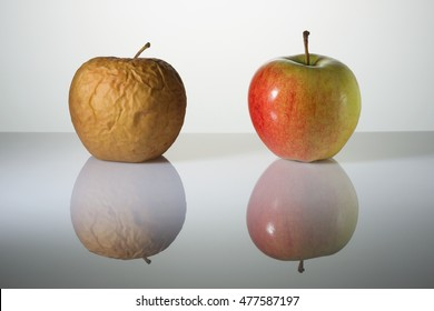 Wrinkled and fresh apples on a surface with reflection