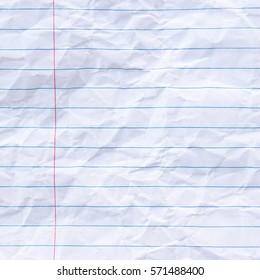 Wrinkled Notebook Lined Paper Background