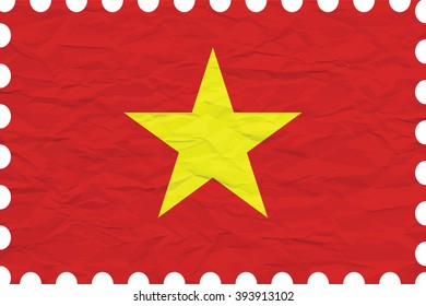wrinkled paper vietnam stamp, abstract art illustration, image contains transparency