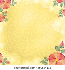 Wrinkled wall-paper, with flower corners, yellow. A background texture, with gentle drawing, imitating crumpled paper or fabric. Basis for design of cards, wedding invitation, websites, etc.