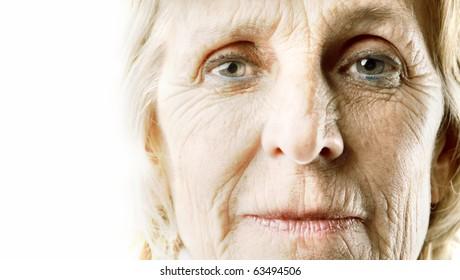 Wrinkled woman's visage