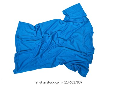 Wrinkles on untidy blue shirt isolated over white background