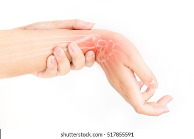 wrist bones injury white background