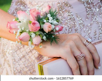 Wrist Corsage, pink and greens