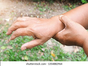 Wrist pain from hard work. Rheumatology and osteoporosis of the elderly. Bones and joints wrists and inflammation. Health care at old age