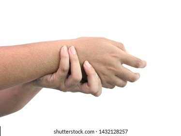 Wrist pain of women who need health care and problems separately on a white background.