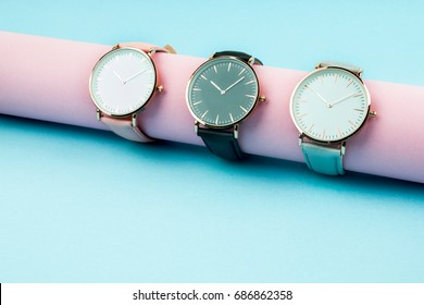 Wrist watch collection on a blue background