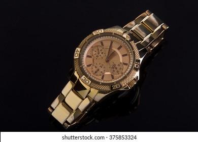 Wrist watch on a dark background, studio lighting, Macro