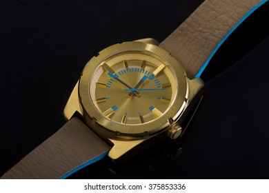 Wrist watch on a dark background, studio lighting, Macro