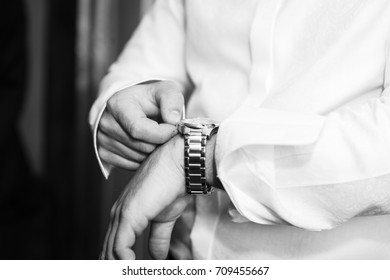 Wrist watch on hand of man