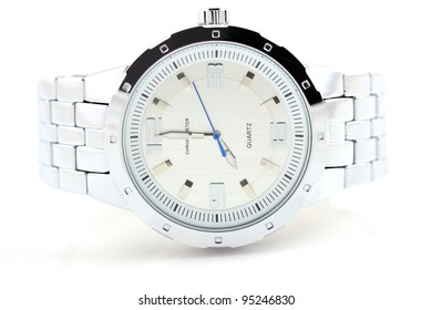 Wrist watch on white background with tiny shadow