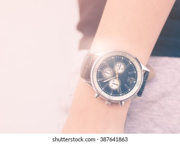 wrist watch with vintage style color