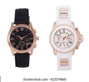 Wrist watches for men and women on a white background