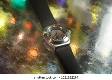 wristwatch with black strap