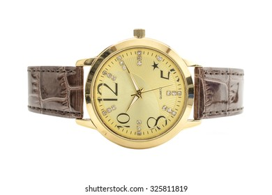 wristwatch with gold edges