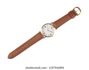 wristwatch with leather strap isolated on white background