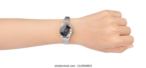 Wristwatch on the hand isolated on white background.