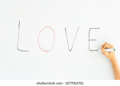 Write a board I love English sentence on the white board.