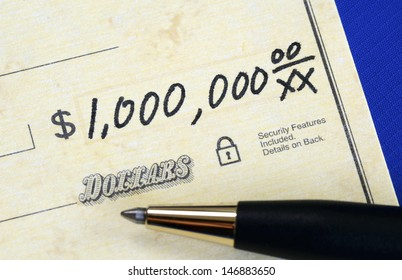 Write a check of one million dollars concept of wealth