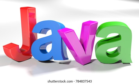 The write Java, written with colorful letters standing slightly bent on a white surface - 3D rendering illustration