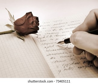 write a love letter with a rose over pink background