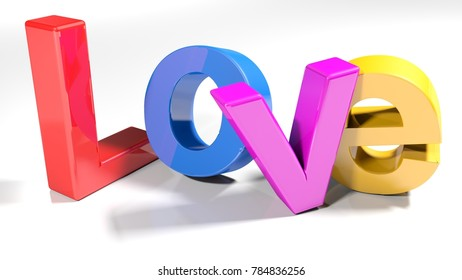 The write Love, written with 3D colorful letters standing, slightly bent, on a white surface - 3D rendering illustration