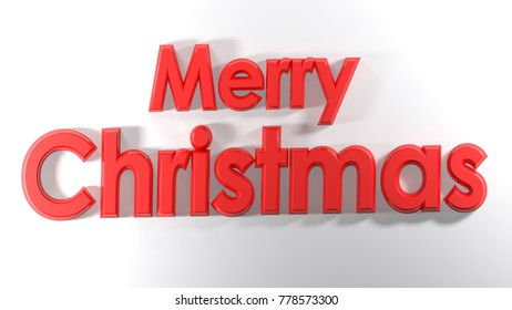 The write Merry Christmas, written with red 3D letters on a white surface - 3D rendering